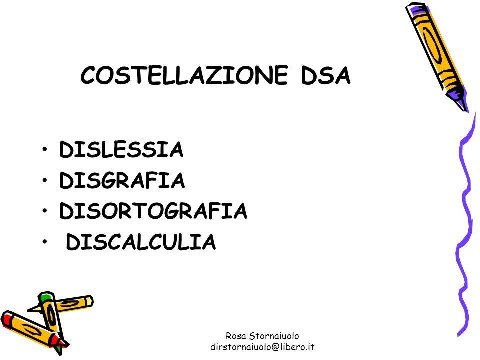 Rosa Stornaiuolo dirstornaiuolo@libero.it COSTELLAZIONE DSA DISLESSIA DISGRAFIA DISORTOGRAFIA DISCALCULIA