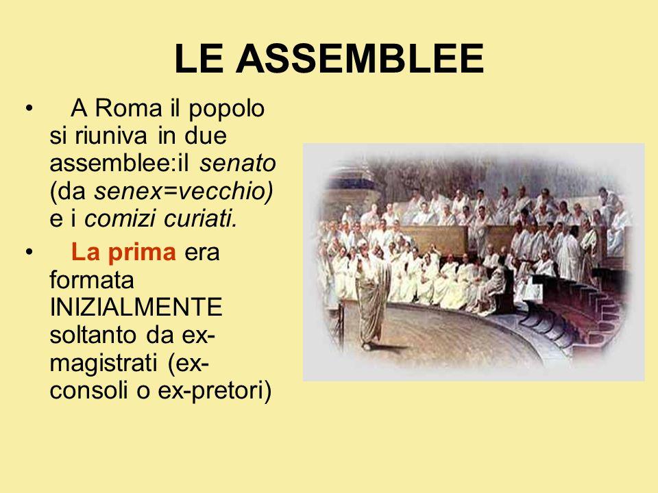 LE ASSEMBLEE A Roma il popolo si riuniva in due assemblee:il senato (da senex=vecchio) e i comizi curiati. La prima era formata INIZIALMENTE soltanto