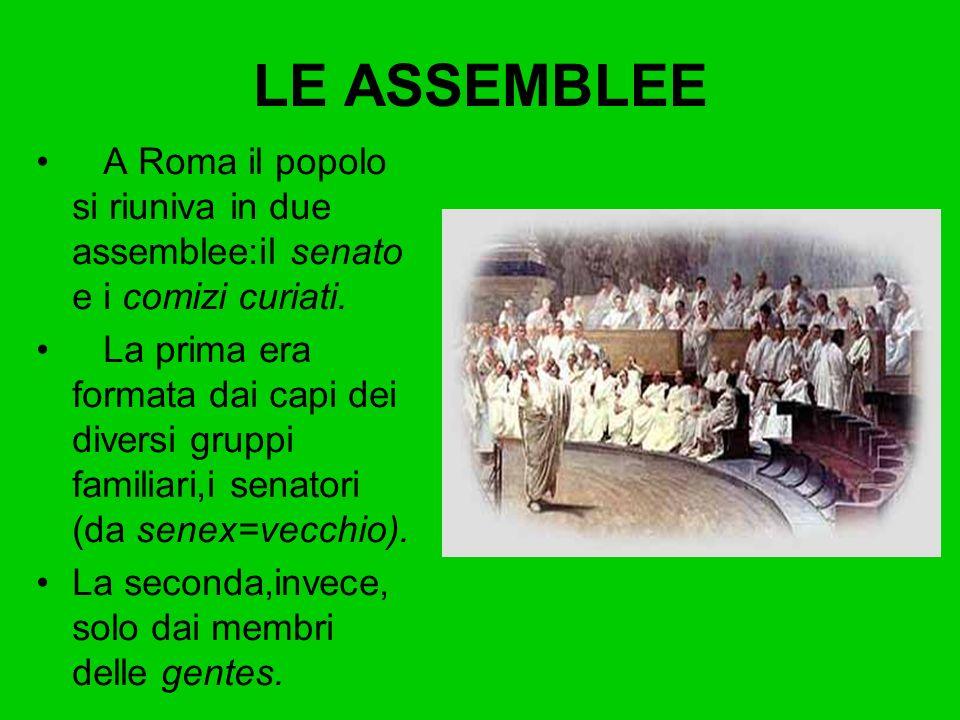 A Roma il popolo si riuniva in due assemblee:il senato e i comizi curiati. La prima era formata dai capi dei diversi gruppi familiari,i senatori (da s