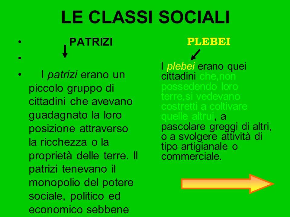 LE CLASSI SOCIALI PATRIZI I patrizi erano un piccolo gruppo di cittadini che avevano guadagnato la loro posizione attraverso la ricchezza o la proprie