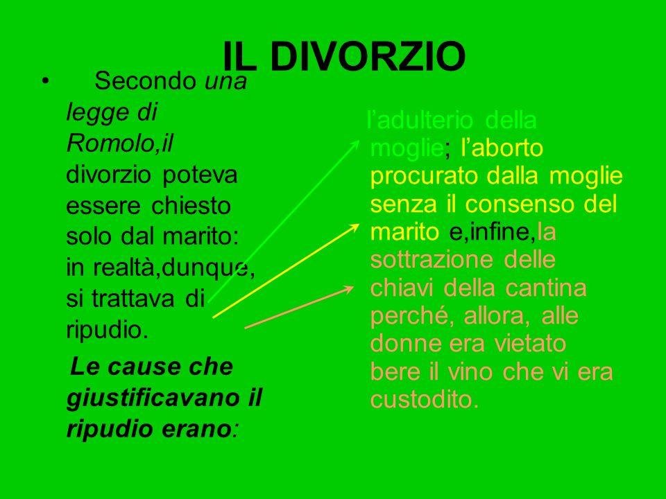IL DIVORZIO Secondo una legge di Romolo,il divorzio poteva essere chiesto solo dal marito: in realtà,dunque, si trattava di ripudio. Le cause che gius