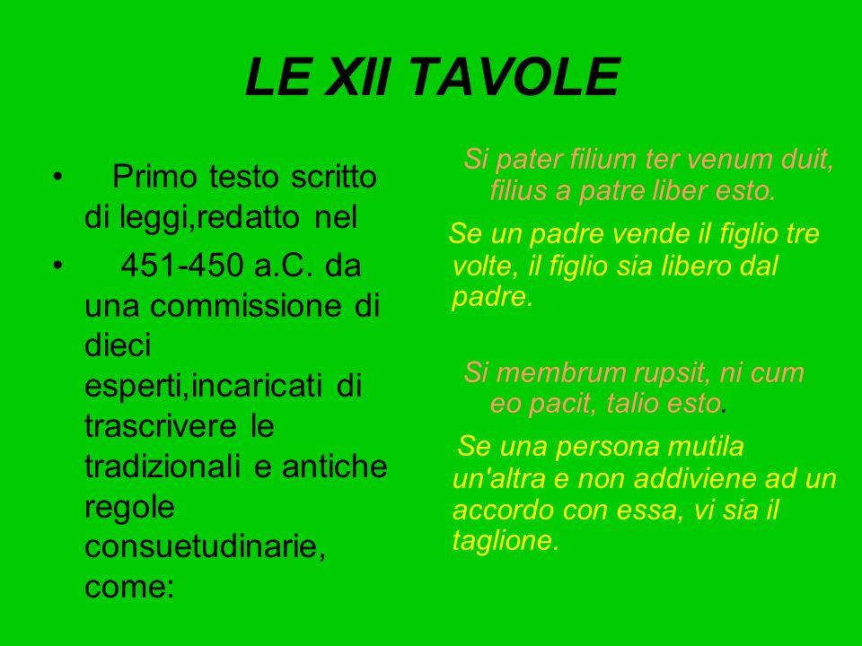 LE XII TAVOLE Primo testo scritto di leggi,redatto nel 451-450 a.C. da una commissione di dieci esperti,incaricati di trascrivere le tradizionali e an
