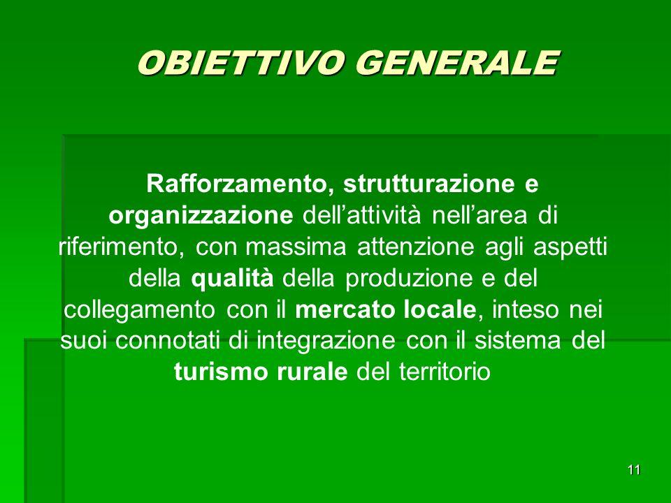 11 OBIETTIVO GENERALE Rafforzamento, strutturazione e organizzazione dellattività nellarea di riferimento, con massima attenzione agli aspetti della qualità della produzione e del collegamento con il mercato locale, inteso nei suoi connotati di integrazione con il sistema del turismo rurale del territorio