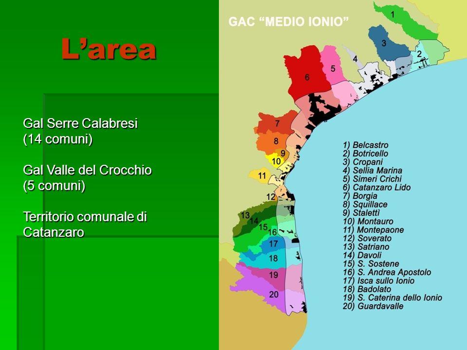5 Gal Serre Calabresi (14 comuni) Gal Valle del Crocchio (5 comuni) Territorio comunale di Catanzaro Larea