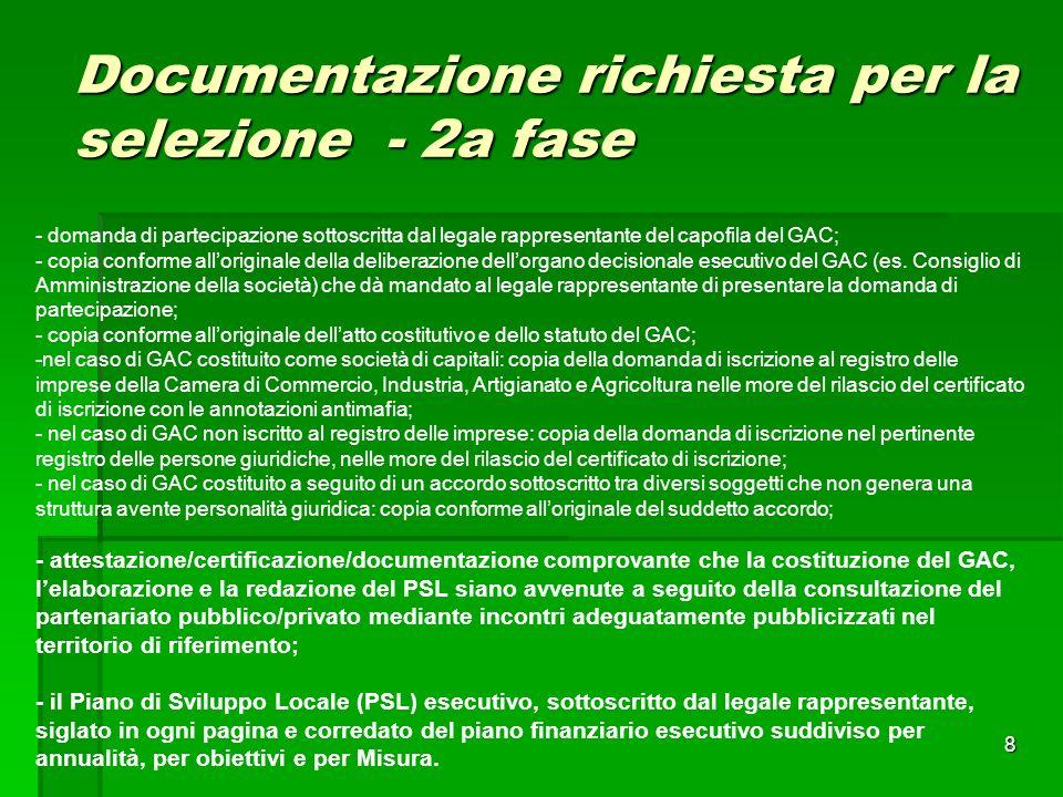 8 Documentazione richiesta per la selezione - 2a fase - domanda di partecipazione sottoscritta dal legale rappresentante del capofila del GAC; - copia conforme alloriginale della deliberazione dellorgano decisionale esecutivo del GAC (es.
