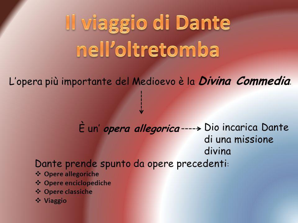 Lopera più importante del Medioevo è la Divina Commedia. È un opera allegorica Dio incarica Dante di una missione divina Dante prende spunto da opere