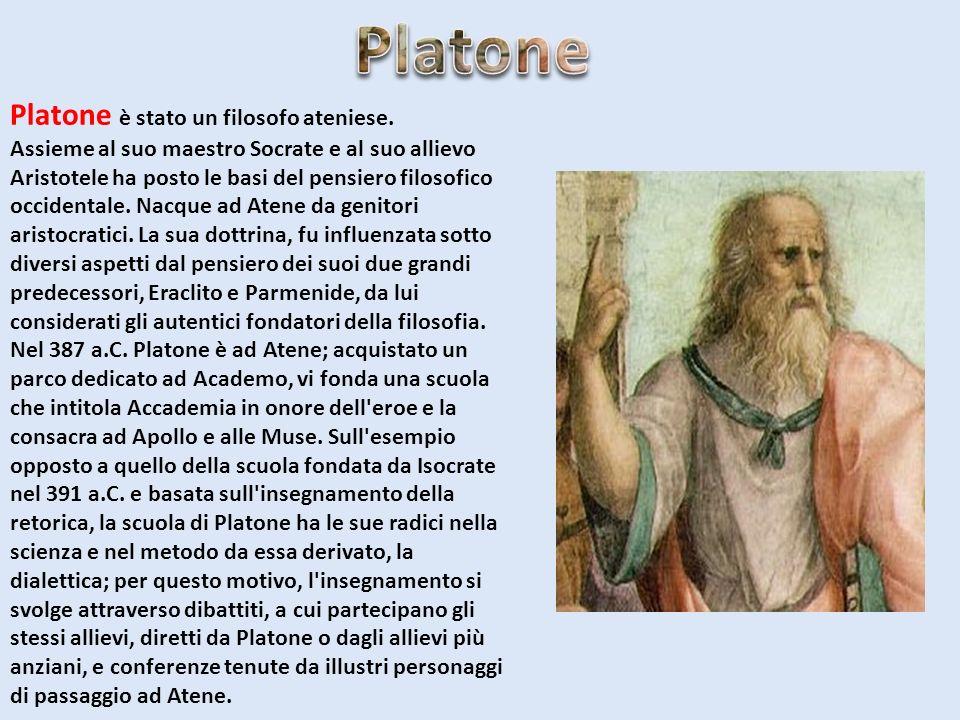 Platone è stato un filosofo ateniese. Assieme al suo maestro Socrate e al suo allievo Aristotele ha posto le basi del pensiero filosofico occidentale.