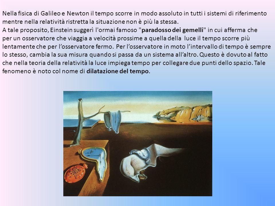 Nella fisica di Galileo e Newton il tempo scorre in modo assoluto in tutti i sistemi di riferimento mentre nella relatività ristretta la situazione no