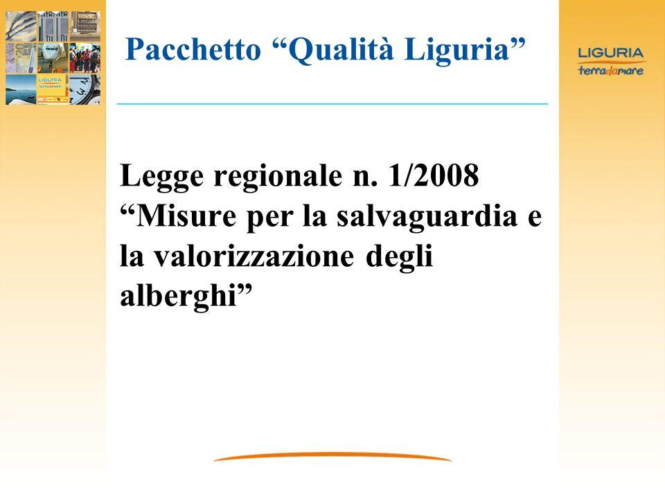 Legge regionale n. 1/2008 Misure per la salvaguardia e la valorizzazione degli alberghi Pacchetto Qualità Liguria