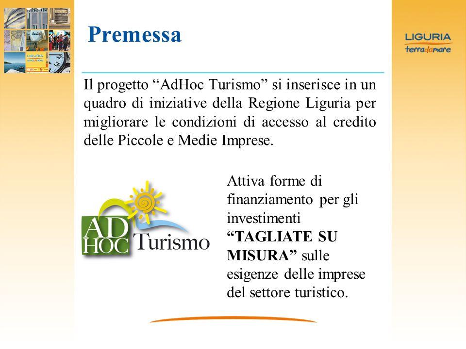 Premessa Il progetto AdHoc Turismo si inserisce in un quadro di iniziative della Regione Liguria per migliorare le condizioni di accesso al credito delle Piccole e Medie Imprese.