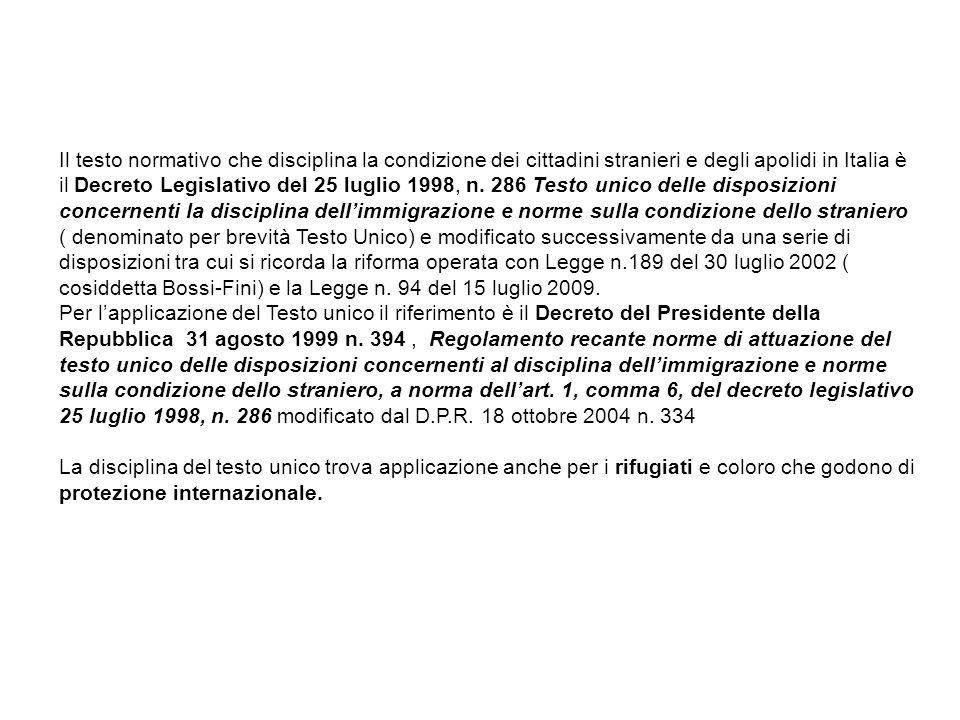 Il testo normativo che disciplina la condizione dei cittadini stranieri e degli apolidi in Italia è il Decreto Legislativo del 25 luglio 1998, n. 286