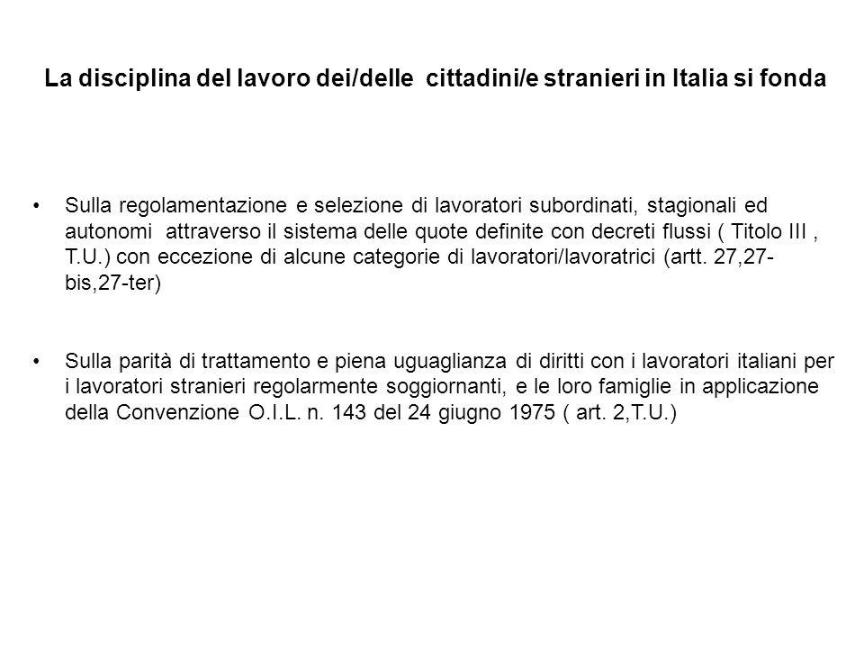 La disciplina del lavoro dei/delle cittadini/e stranieri in Italia si fonda Sulla regolamentazione e selezione di lavoratori subordinati, stagionali e