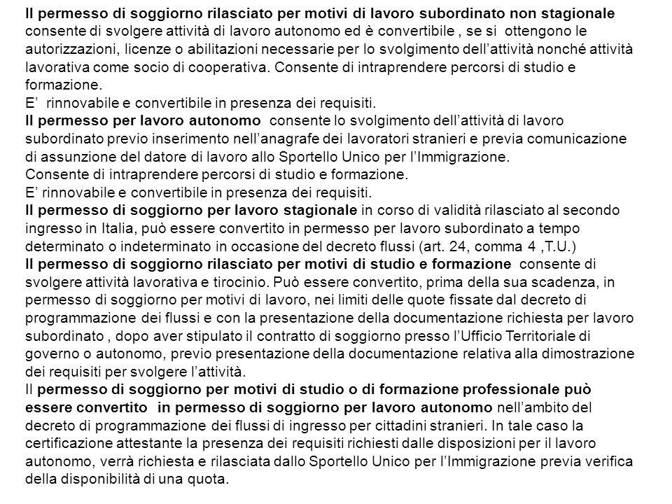 Il permesso di soggiorno rilasciato per motivi di lavoro subordinato non stagionale consente di svolgere attività di lavoro autonomo ed è convertibile