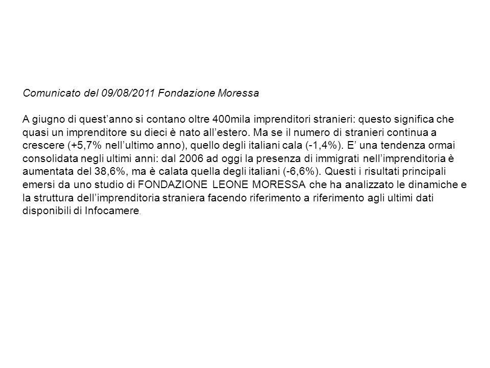 Comunicato del 09/08/2011 Fondazione Moressa A giugno di questanno si contano oltre 400mila imprenditori stranieri: questo significa che quasi un impr