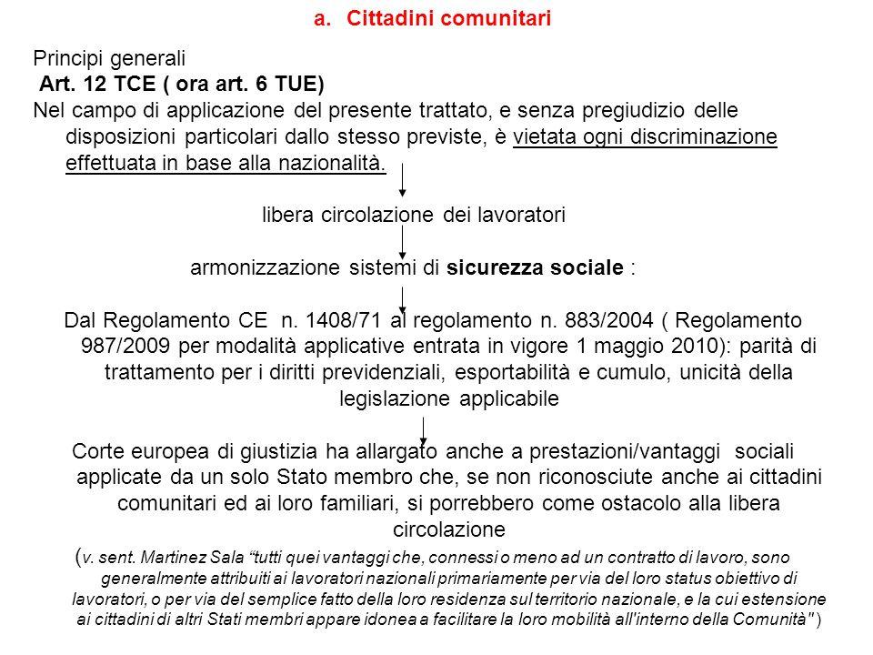 a.Cittadini comunitari Principi generali Art. 12 TCE ( ora art. 6 TUE) Nel campo di applicazione del presente trattato, e senza pregiudizio delle disp