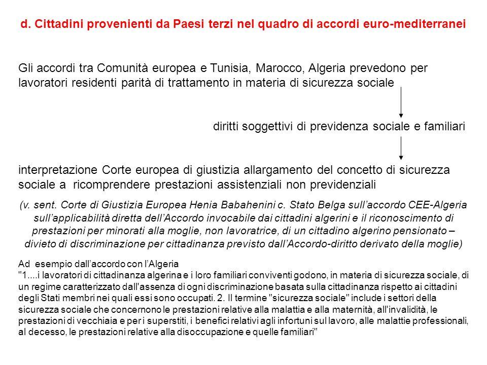 d. Cittadini provenienti da Paesi terzi nel quadro di accordi euro-mediterranei Gli accordi tra Comunità europea e Tunisia, Marocco, Algeria prevedono
