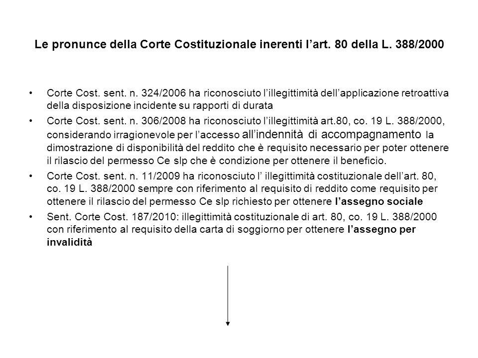 Le pronunce della Corte Costituzionale inerenti lart. 80 della L. 388/2000 Corte Cost. sent. n. 324/2006 ha riconosciuto lillegittimità dellapplicazio
