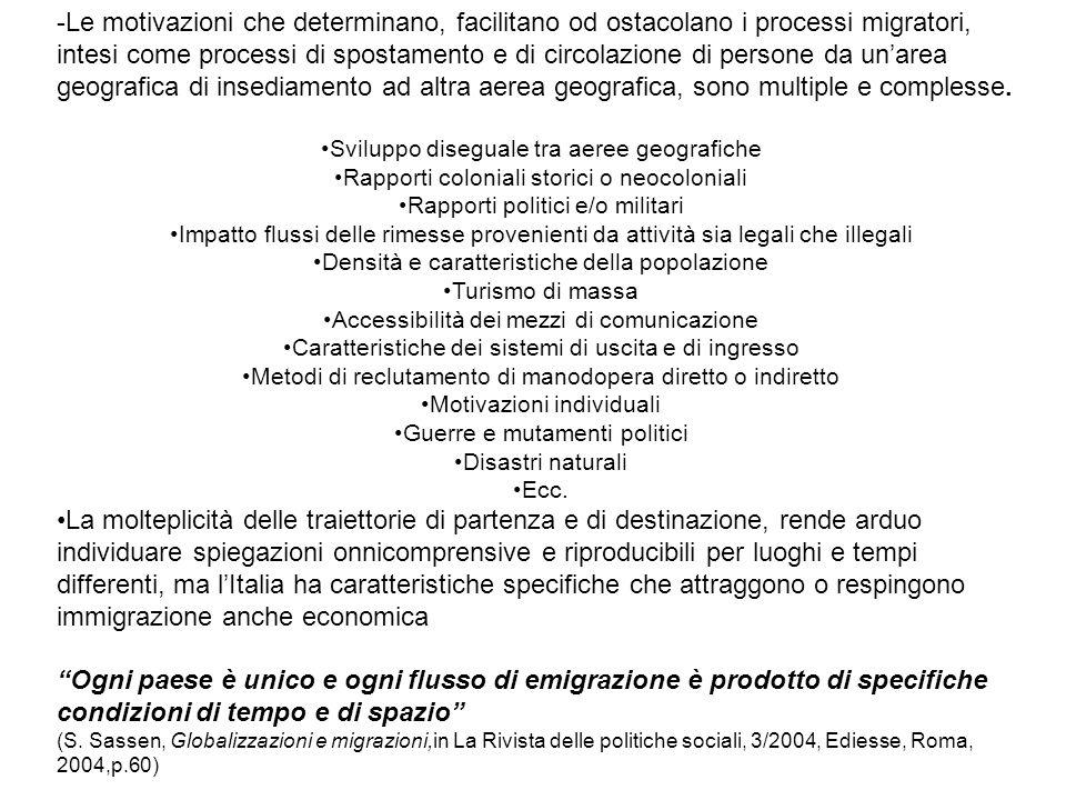 -Le motivazioni che determinano, facilitano od ostacolano i processi migratori, intesi come processi di spostamento e di circolazione di persone da un