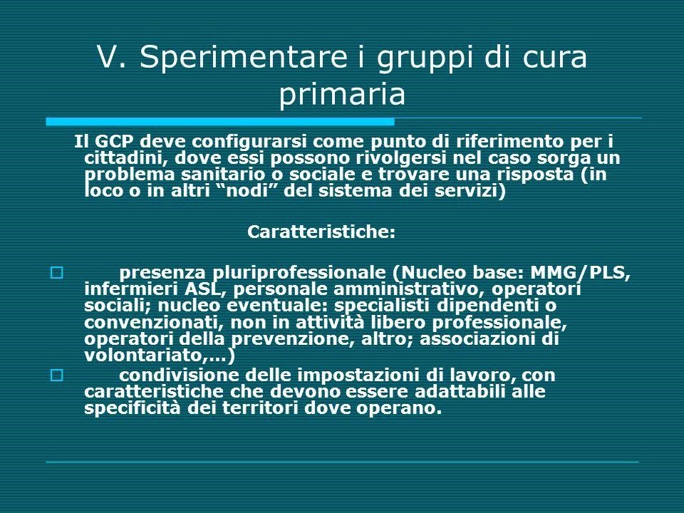 V. Sperimentare i gruppi di cura primaria Il GCP deve configurarsi come punto di riferimento per i cittadini, dove essi possono rivolgersi nel caso so