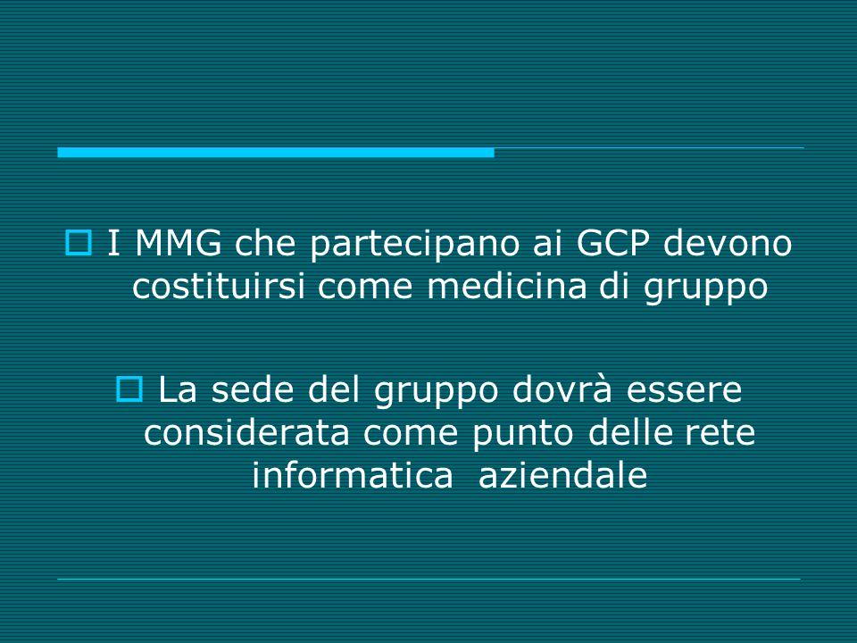 I MMG che partecipano ai GCP devono costituirsi come medicina di gruppo La sede del gruppo dovrà essere considerata come punto delle rete informatica aziendale