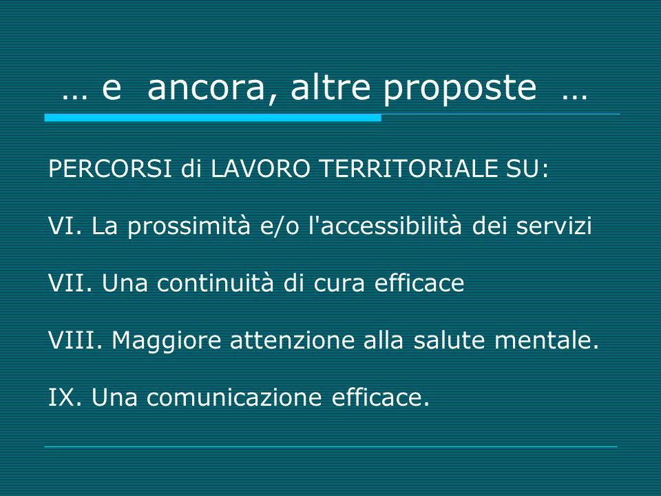 … e ancora, altre proposte … PERCORSI di LAVORO TERRITORIALE SU: VI.