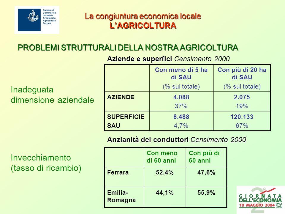 La congiuntura economica locale LAGRICOLTURA PROBLEMI STRUTTURALI DELLA NOSTRA AGRICOLTURA Con meno di 60 anni Con più di 60 anni Ferrara52,4%47,6% Emilia- Romagna 44,1%55,9% Anzianità dei conduttori Censimento 2000 Invecchiamento (tasso di ricambio) Inadeguata dimensione aziendale Con meno di 5 ha di SAU (% sul totale) Con più di 20 ha di SAU (% sul totale) AZIENDE4.088 37% 2.075 19% SUPERFICIE SAU 8.488 4,7% 120.133 67% Aziende e superfici Aziende e superfici Censimento 2000
