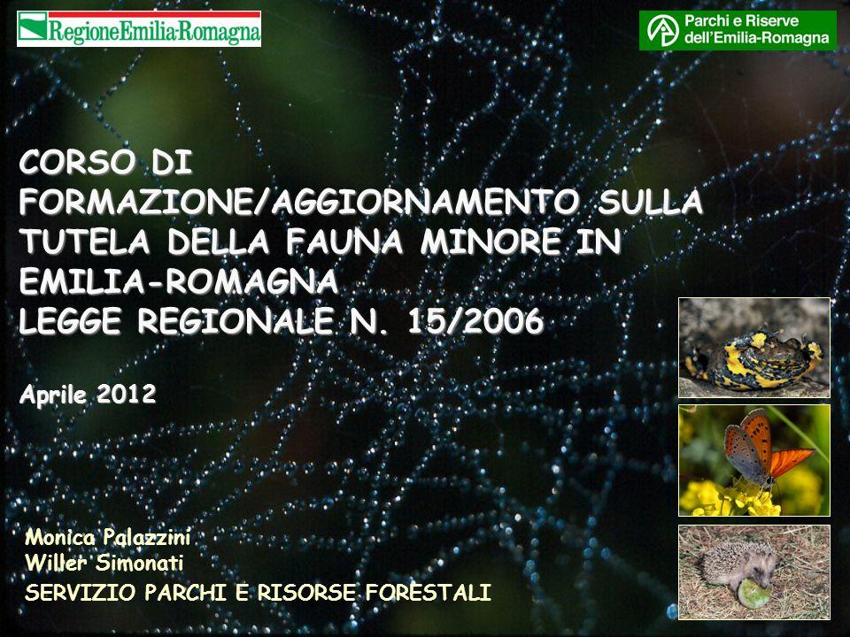 CORSO DI FORMAZIONE/AGGIORNAMENTO SULLA TUTELA DELLA FAUNA MINORE IN EMILIA-ROMAGNA LEGGE REGIONALE N. 15/2006 Aprile 2012 Monica Palazzini Willer Sim