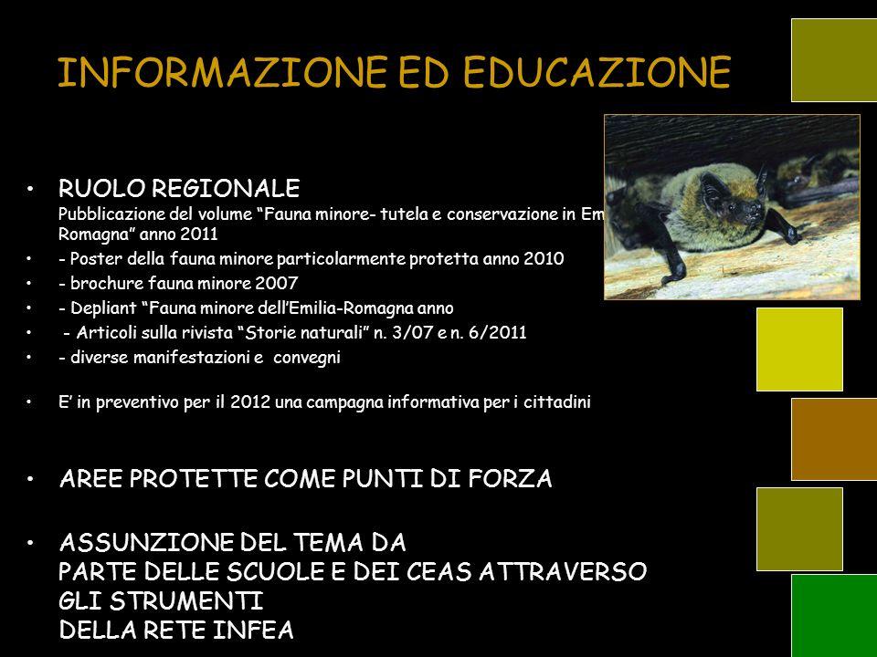 INFORMAZIONE ED EDUCAZIONE RUOLO REGIONALE Pubblicazione del volume Fauna minore- tutela e conservazione in Emilia- Romagna anno 2011 - Poster della f
