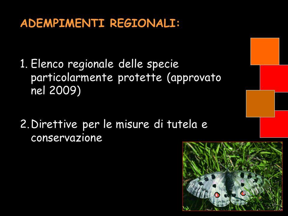 ADEMPIMENTI REGIONALI: 1.Elenco regionale delle specie particolarmente protette (approvato nel 2009) 2.Direttive per le misure di tutela e conservazio