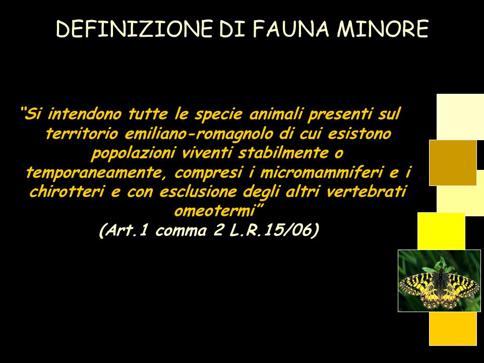 Si intendono tutte le specie animali presenti sul territorio emiliano-romagnolo di cui esistono popolazioni viventi stabilmente o temporaneamente, com