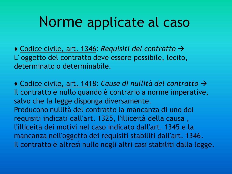 Norme applicate al caso Codice civile, art. 1346: Requisiti del contratto L' oggetto del contratto deve essere possibile, lecito, determinato o determ