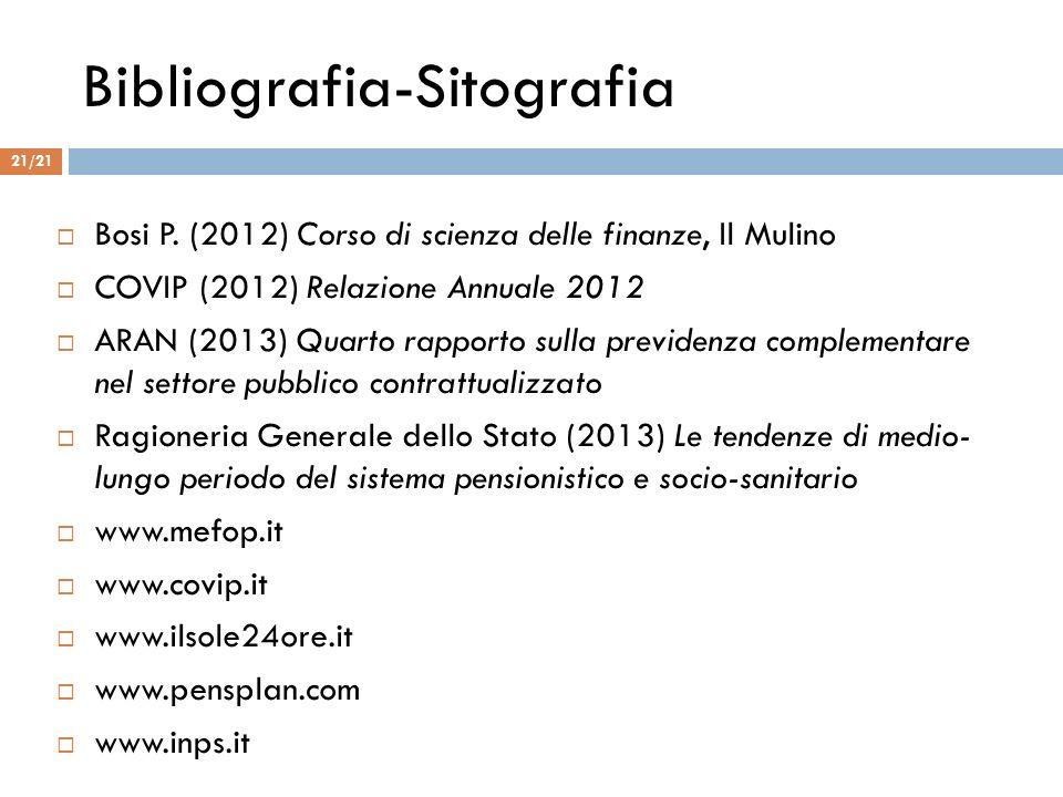 Bibliografia-Sitografia Bosi P. (2012) Corso di scienza delle finanze, Il Mulino COVIP (2012) Relazione Annuale 2012 ARAN (2013) Quarto rapporto sulla