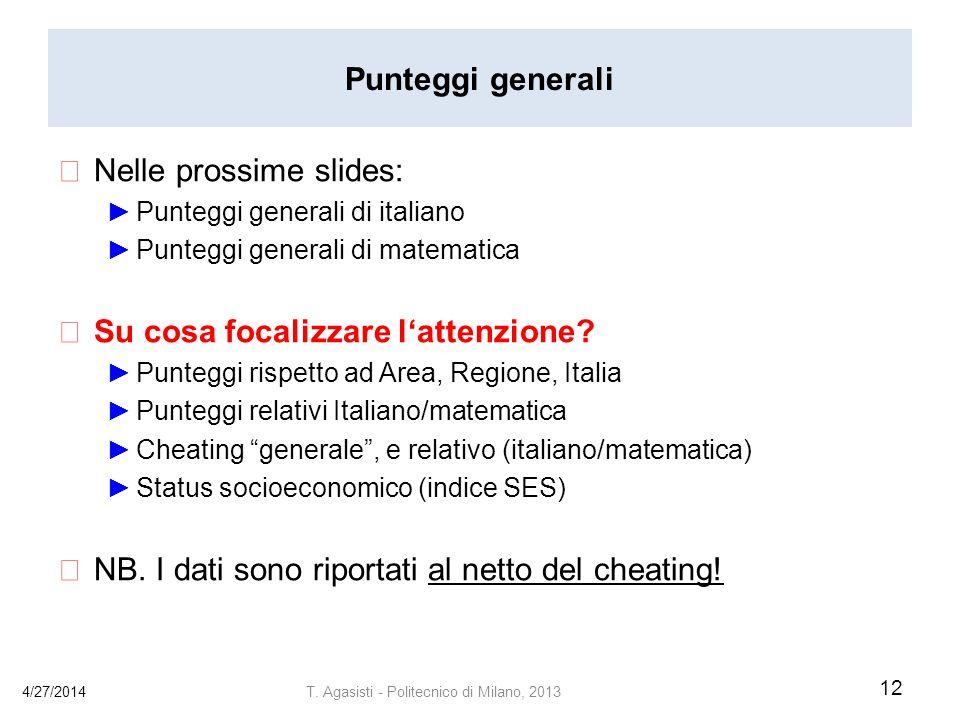 Punteggi generali Nelle prossime slides: Punteggi generali di italiano Punteggi generali di matematica Su cosa focalizzare lattenzione.