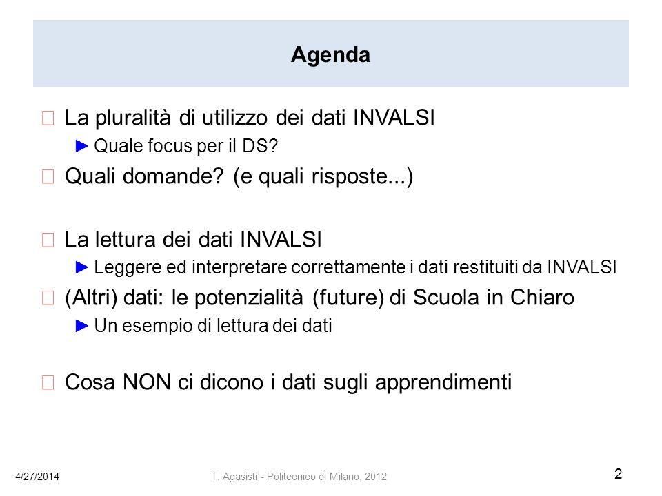 Agenda La pluralità di utilizzo dei dati INVALSI Quale focus per il DS.
