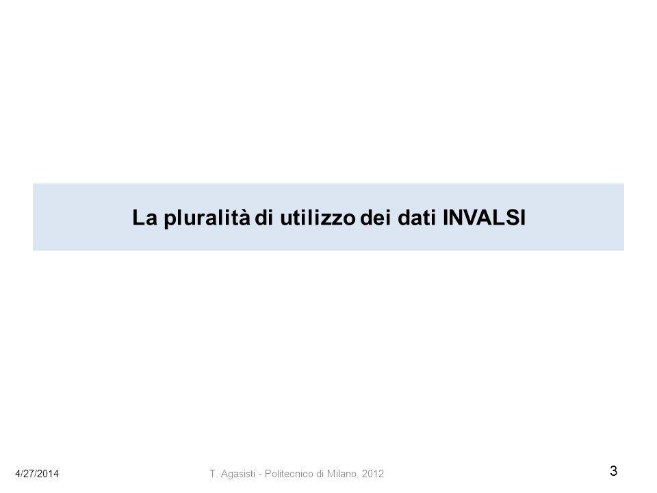 La pluralità di utilizzo dei dati INVALSI 4/27/2014 3 T. Agasisti - Politecnico di Milano, 2012