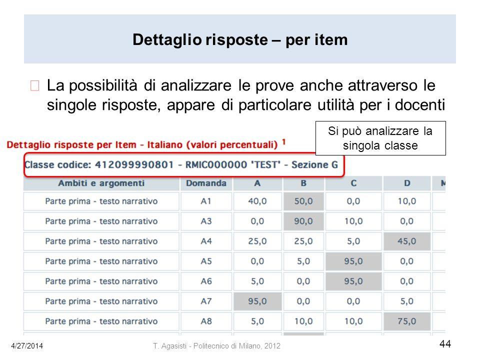 Dettaglio risposte – per item La possibilità di analizzare le prove anche attraverso le singole risposte, appare di particolare utilità per i docenti 4/27/2014 44 T.