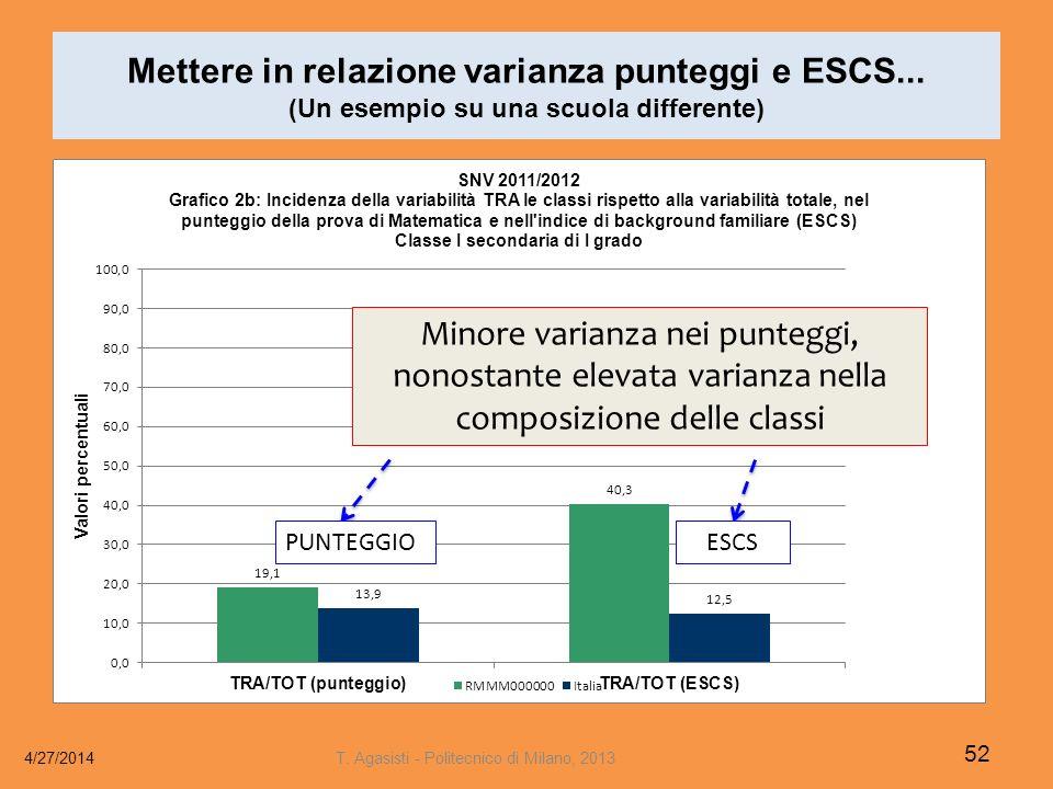 Mettere in relazione varianza punteggi e ESCS...
