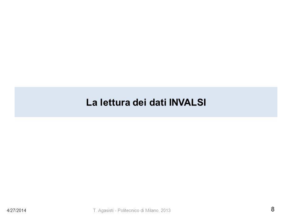 La lettura dei dati INVALSI 4/27/2014 8 T. Agasisti - Politecnico di Milano, 2013