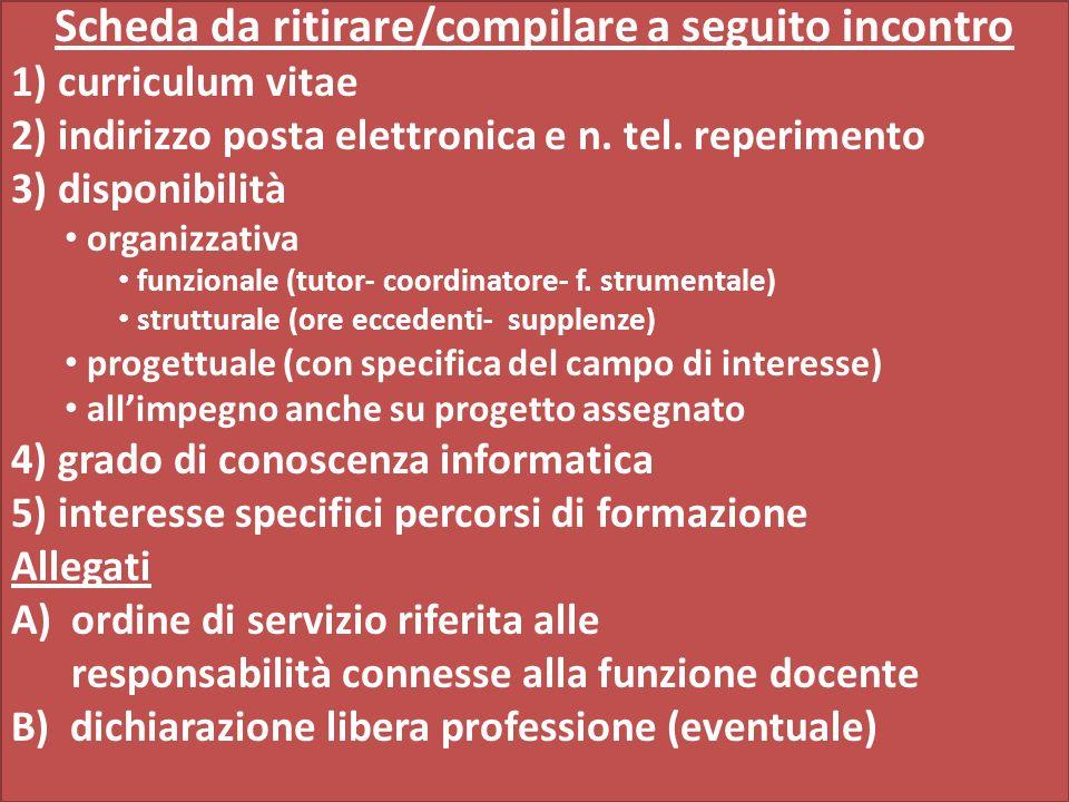 Scheda da ritirare/compilare a seguito incontro 1) curriculum vitae 2) indirizzo posta elettronica e n.