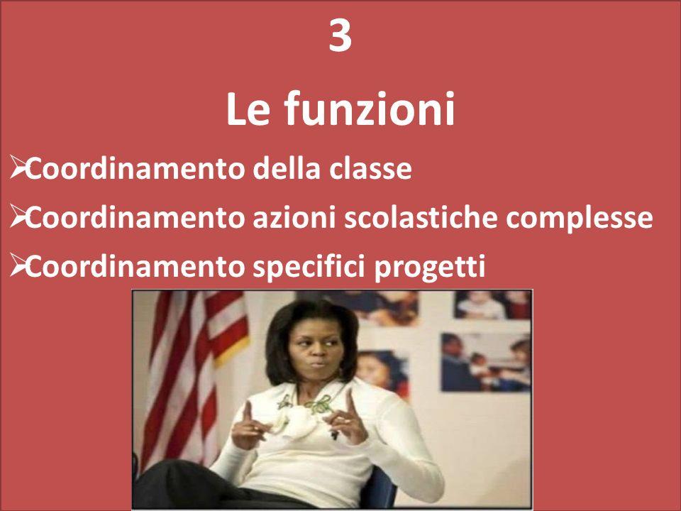 3 Le funzioni Coordinamento della classe Coordinamento azioni scolastiche complesse Coordinamento specifici progetti