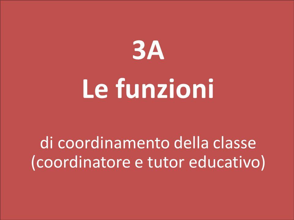 3A Le funzioni di coordinamento della classe (coordinatore e tutor educativo)