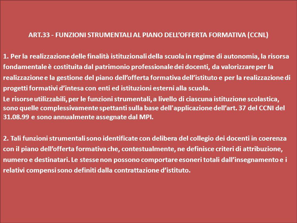 ART.33 - FUNZIONI STRUMENTALI AL PIANO DELLOFFERTA FORMATIVA (CCNL) 1.