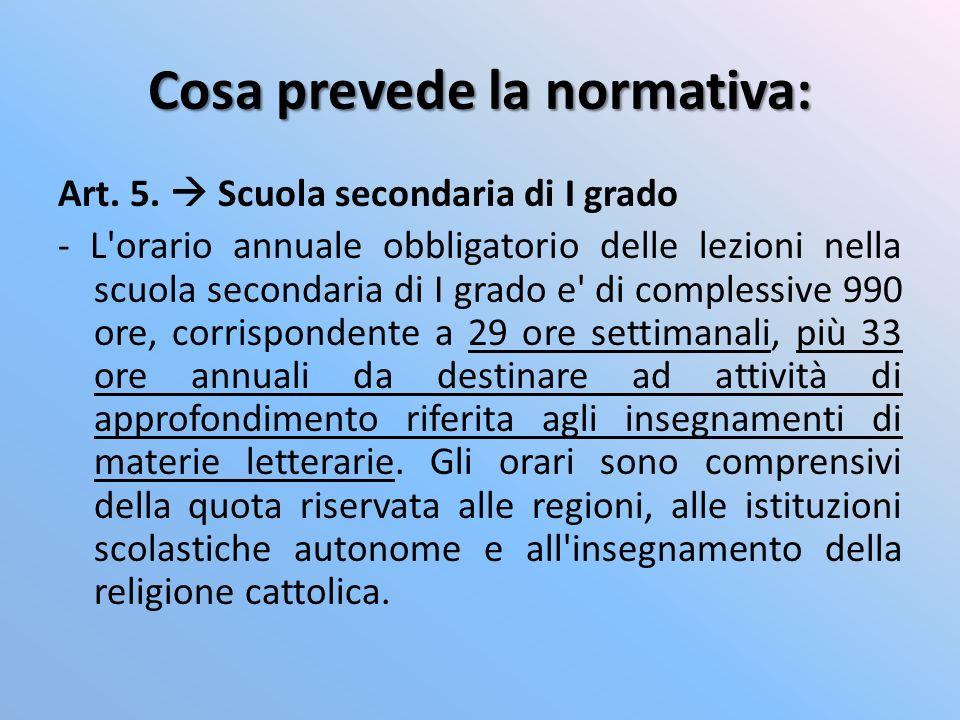 Cosa prevede la normativa: Art. 5. Scuola secondaria di I grado - L'orario annuale obbligatorio delle lezioni nella scuola secondaria di I grado e' di