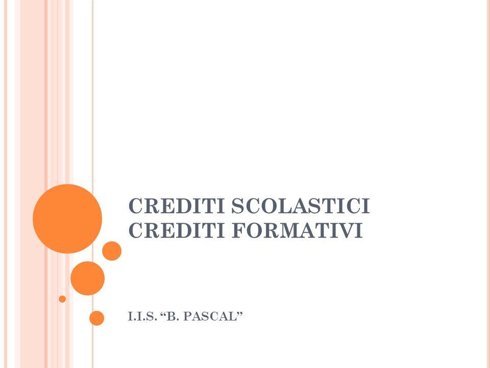 CREDITI SCOLASTICI CREDITI FORMATIVI I.I.S. B. PASCAL