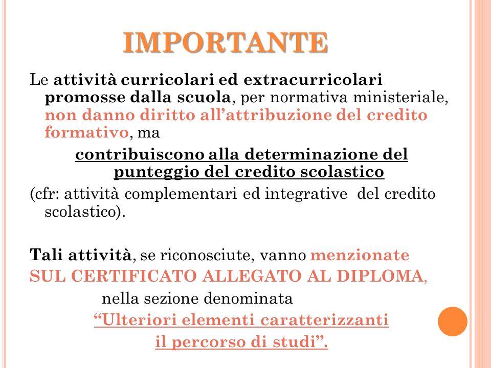 IMPORTANTE Le attività curricolari ed extracurricolari promosse dalla scuola, per normativa ministeriale, non danno diritto allattribuzione del credit