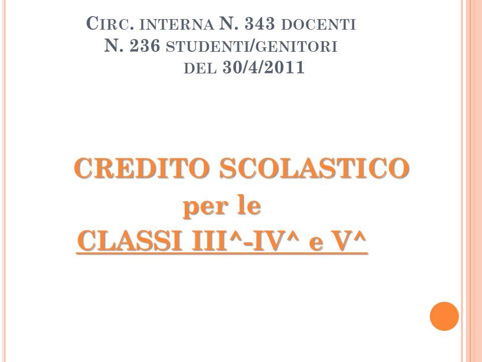 C IRC. INTERNA N. 343 DOCENTI N. 236 STUDENTI / GENITORI DEL 30/4/2011 CREDITO SCOLASTICO per le CLASSI III^-IV^ e V^