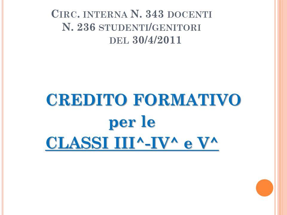C IRC. INTERNA N. 343 DOCENTI N. 236 STUDENTI / GENITORI DEL 30/4/2011 CREDITO FORMATIVO per le CLASSI III^-IV^ e V^