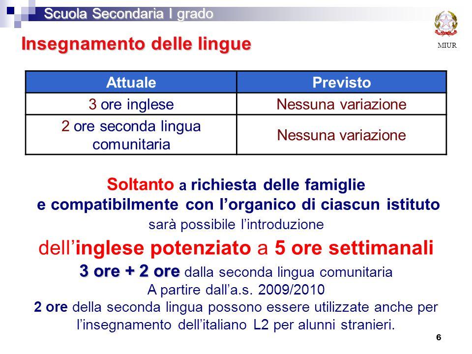 Insegnamento delle lingue AttualePrevisto 3 ore ingleseNessuna variazione 2 ore seconda lingua comunitaria Nessuna variazione MIUR Scuola Secondaria I