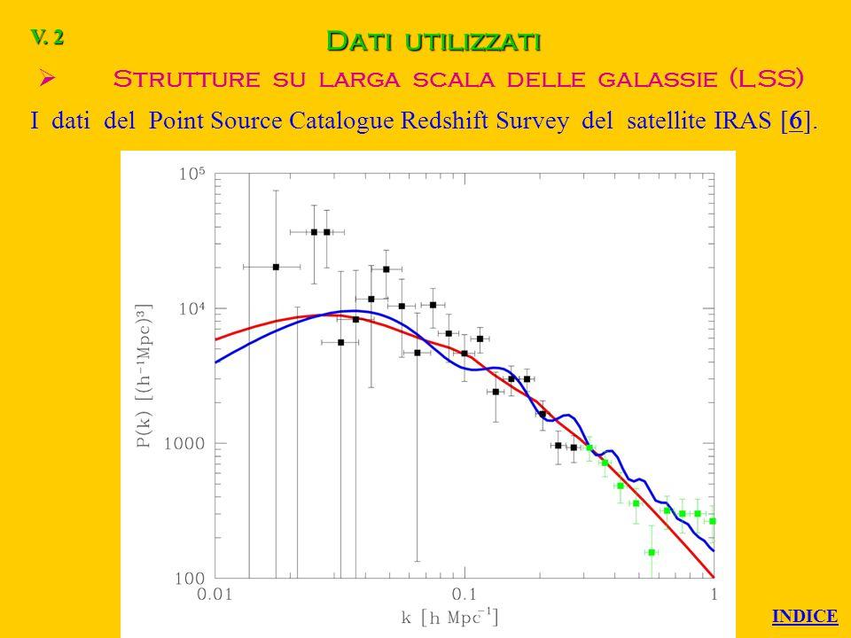 Dati utilizzati Radiazione di fondo cosmica (CMB) Tutti i dati disponibili al momento dellanalisi (prima del 2000). V. 1 INDICE
