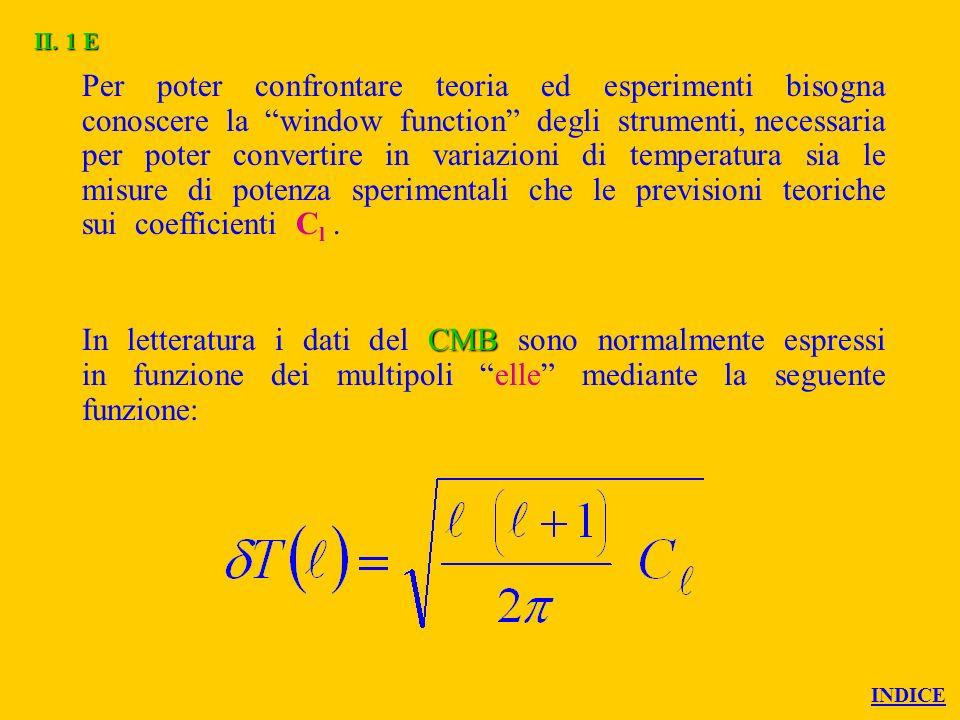 Per poter confrontare teoria ed esperimenti bisogna conoscere la window function degli strumenti, necessaria per poter convertire in variazioni di temperatura sia le misure di potenza sperimentali che le previsioni teoriche sui coefficienti C l.